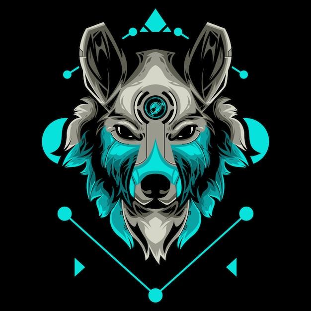 Perfect wolf head vector illustration in black background Premium Vector