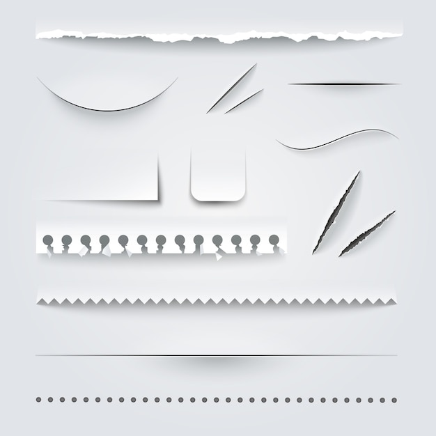 Perforated paper set Free Vector