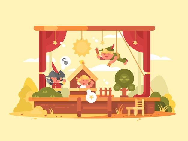 Performance children on scene. play in theater with boy and girl.  ilustration Premium Vector