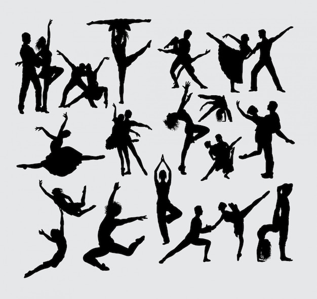 Performance couple ballet sport silhouette Premium Vector