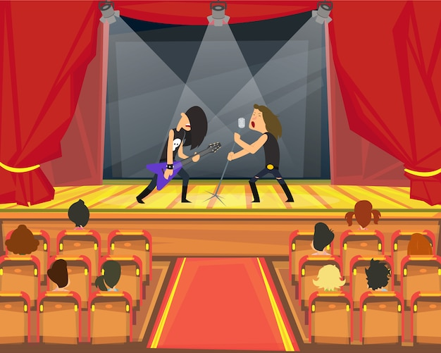 Performance of rock musicians on stage. Premium Vector