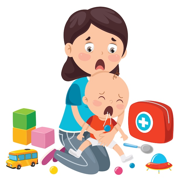 Performing cpr first aid for baby Premium Vector