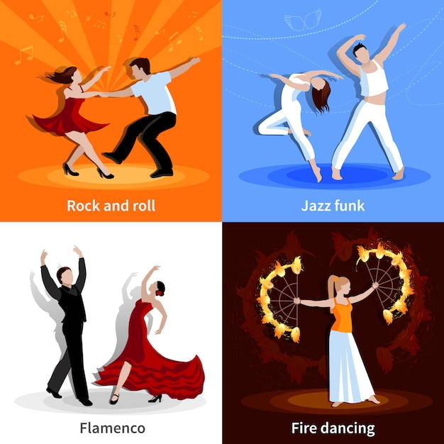 Performing various styles of dancing people flat character set isolated vector illustration Free Vector