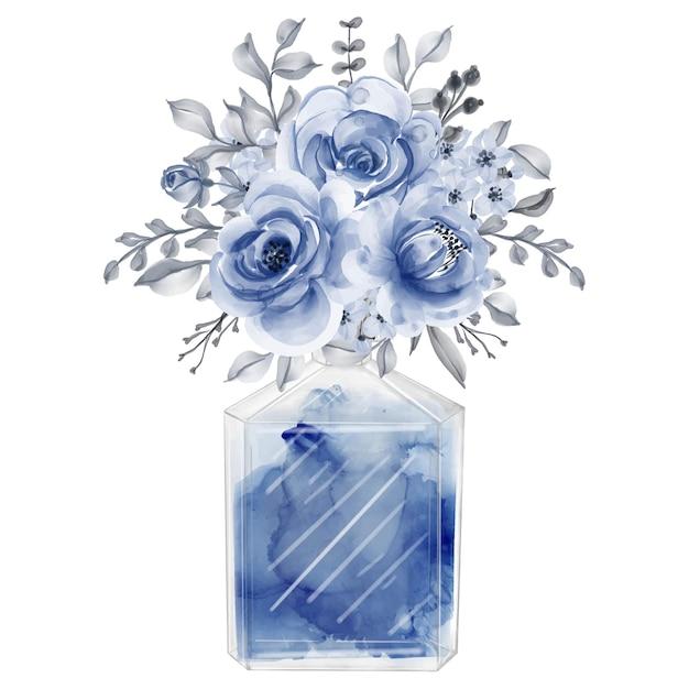 香水と花ネイビーブルー水彩クリップアートファッションイラスト 無料ベクター