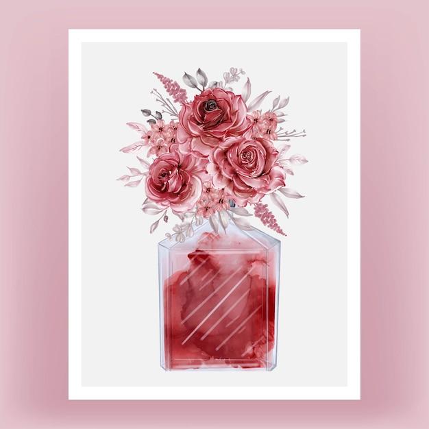 香水とバラのブルゴーニュ水彩クリップアートイラスト 無料ベクター