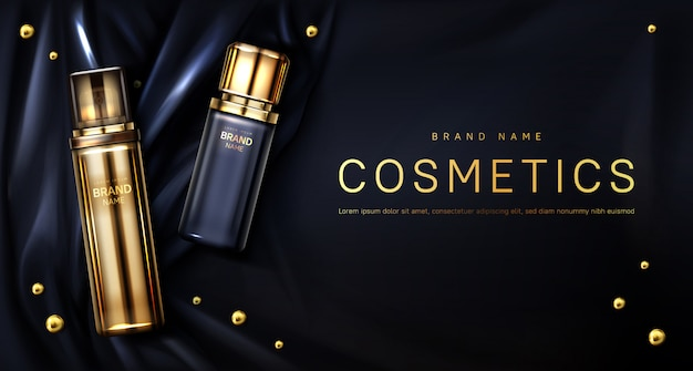 Perfume bottle on black silk fabric background Free Vector