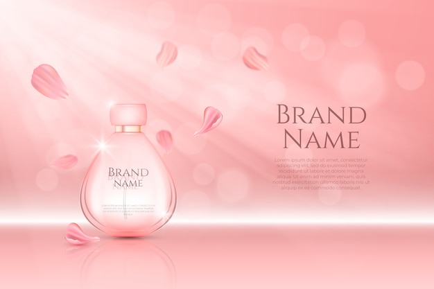 Perfume bottle cosmetic ad Free Vector