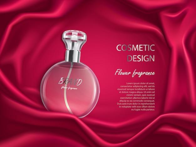Bottiglia di profumo, banner di design cosmetico di fragranza floreale Vettore gratuito