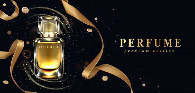 Perfume bottle and gold ribbon on black Free Vector