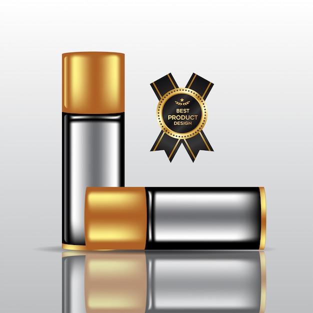 香水瓶モックアップ、3 dイラストレーションで空白の化粧品ボトル Premiumベクター