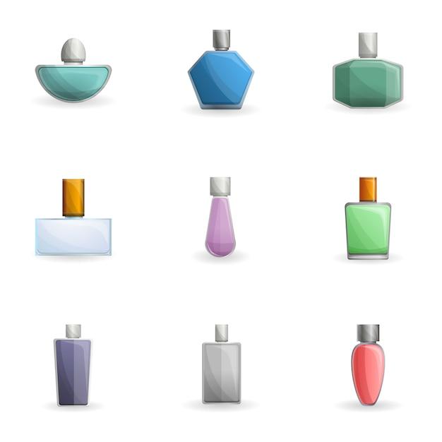Perfume bottle set, cartoon style Premium Vector