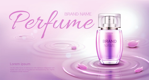 Perfume bottle on water surface with circles. banner template or advertising Free Vector