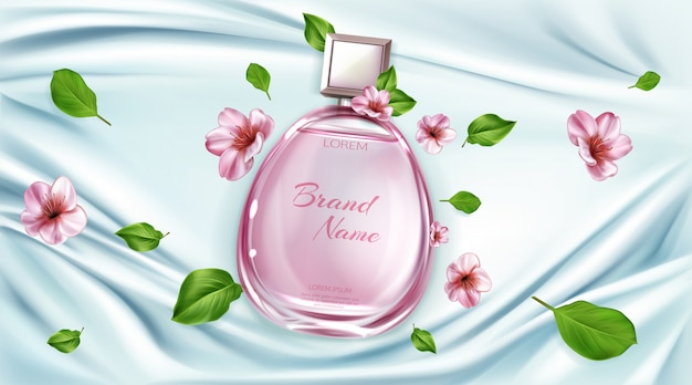 Perfume bottle with sakura flowers advertising Free Vector