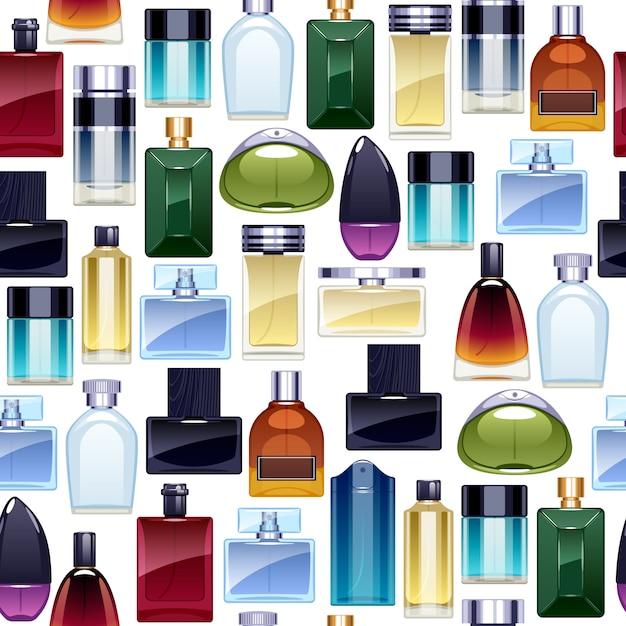 Perfume bottles icons seamless pattern. Premium Vector