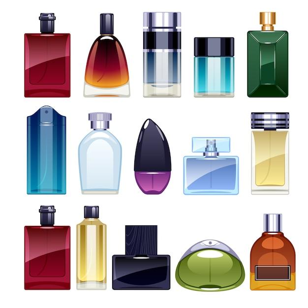 Perfume bottles icons set  illustration. eau de parfum. eau de toilette. Premium Vector
