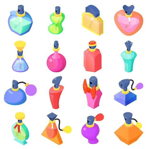 Perfume bottles icons set. isometric illustration of 16 perfume bottles vector icons for web Premium Vector