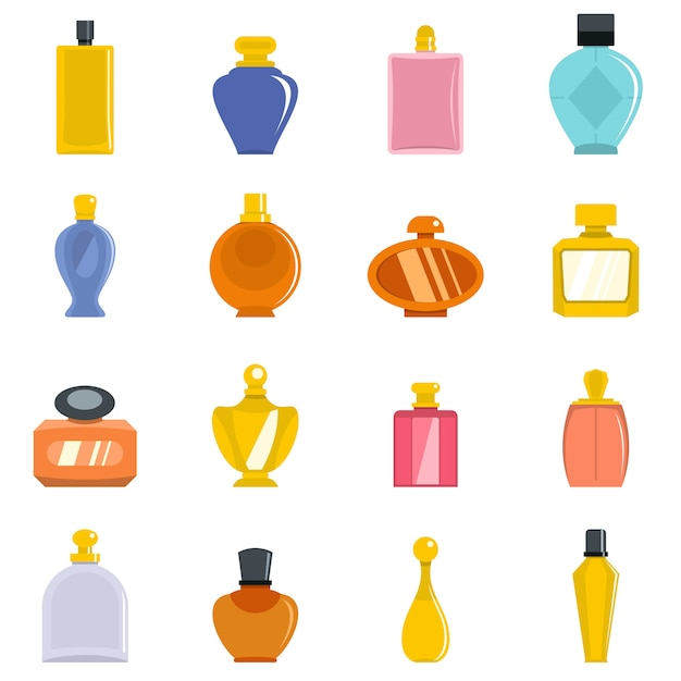 Perfume bottles icons set Premium Vector