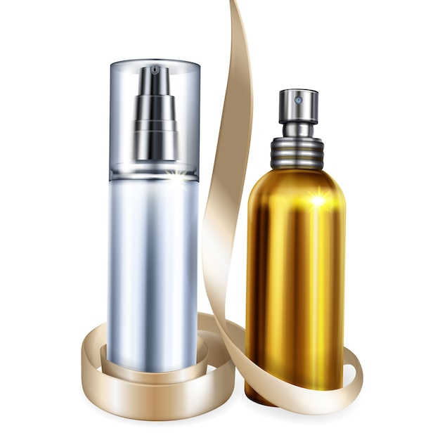Perfume and cosmetic bottles illustration of 3d realistic isolated mockups for premium brand Free Vector