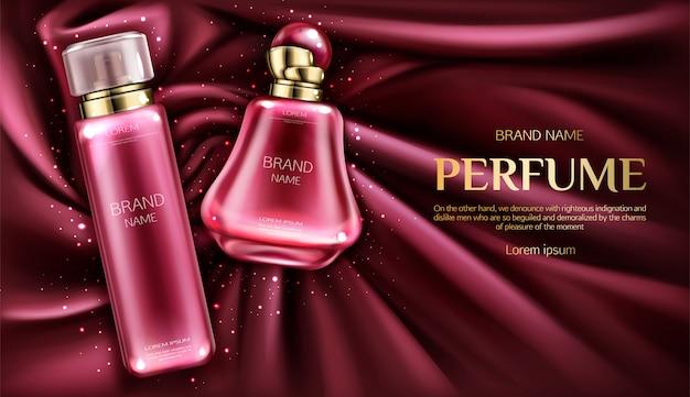 Perfume deodorant bottles on vortex velvet or silk fabric backdrop. Free Vector