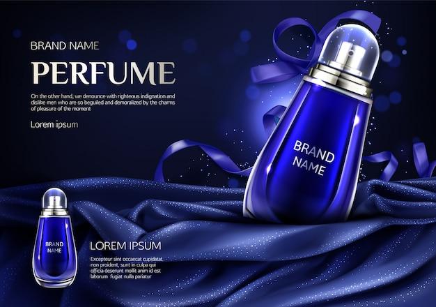 Perfume glass bottle on blue silk folded fabric Free Vector