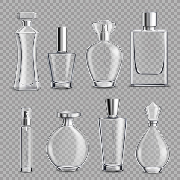 Perfume glass bottles realistic transparent Free Vector