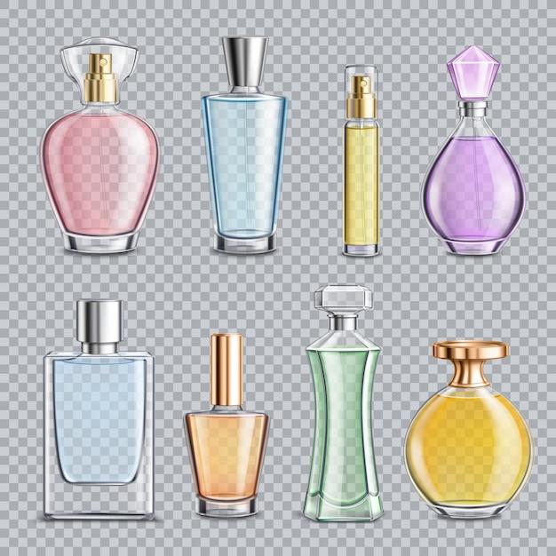 Perfume glass bottles transparent Free Vector