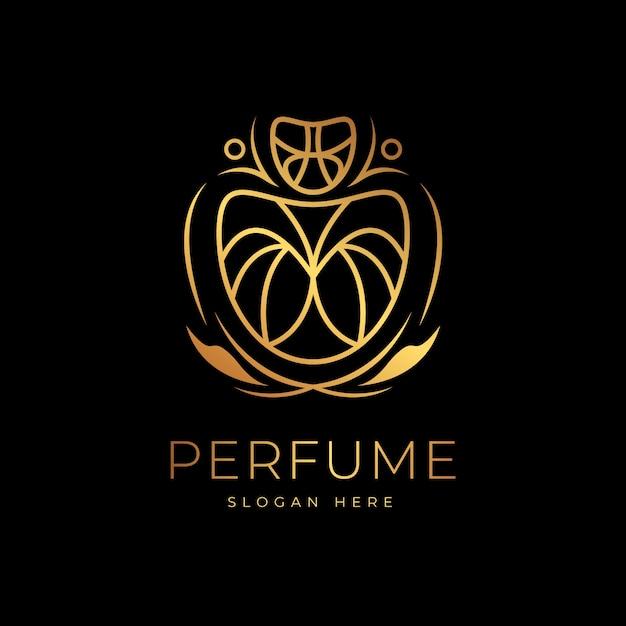 Perfume logo luxury golden design Free Vector