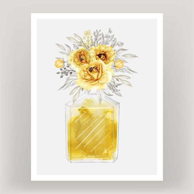 Perfume rose gold yellow watercolor illustration Free Vector