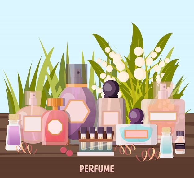 Perfume shop background Free Vector