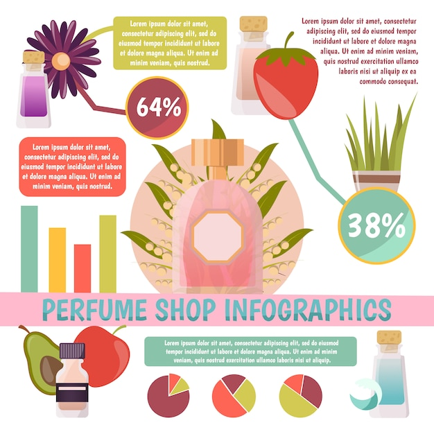 Perfume shop infographics with information and charts about scents and their components on white background Free Vector