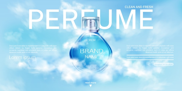 Perfume spray bottle in cloudy sky  banner. Free Vector