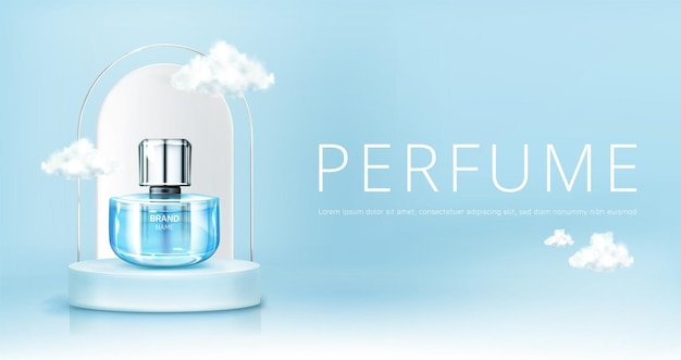 空のモックアップバナーの雲と表彰台に香水スプレーボトル。青い天国の背景にガラスフラスコのモックアップ。香りの香りの化粧品のプロモーション広告、リアルな3dベクトルイラスト 無料ベクター