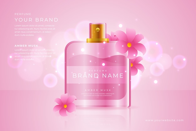 Perfume with pink flowers cosmetic ad Premium Vector