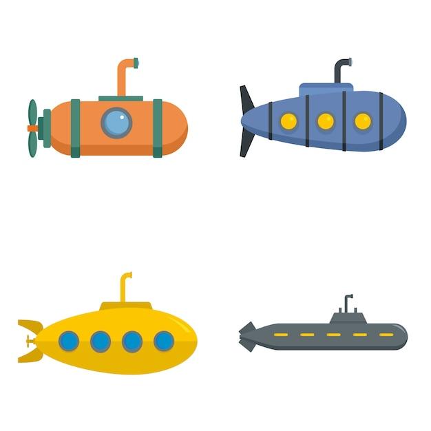 Periscope submarine telescope icons set vector isolated Premium Vector