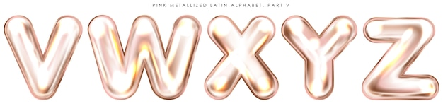 Perl pink foil inflated alphabet symbols, isolated letters v-w-x-y-z Premium Vector