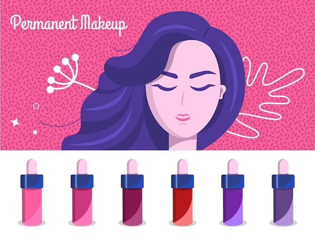 Permanent makeup illustration backdrop Premium Vector