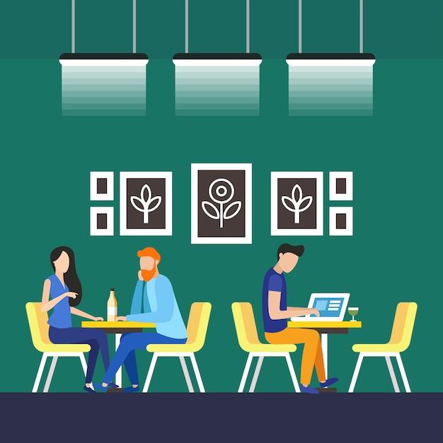 Permanent tenants coworking vector illustration. Premium Vector