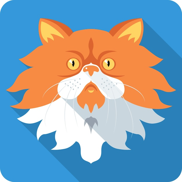 Persian cat icon flat design Premium Vector