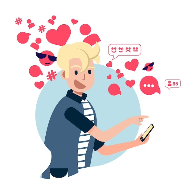 A person addicted to social media Free Vector