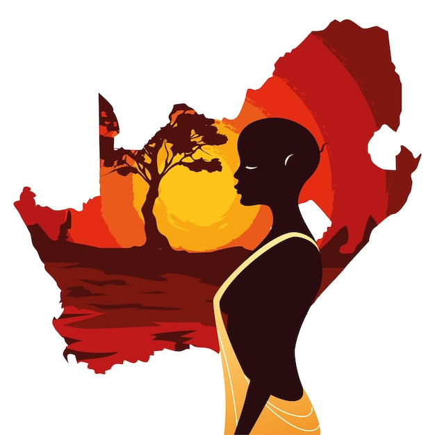 Person afro with map of south africa illustration Premium Vector