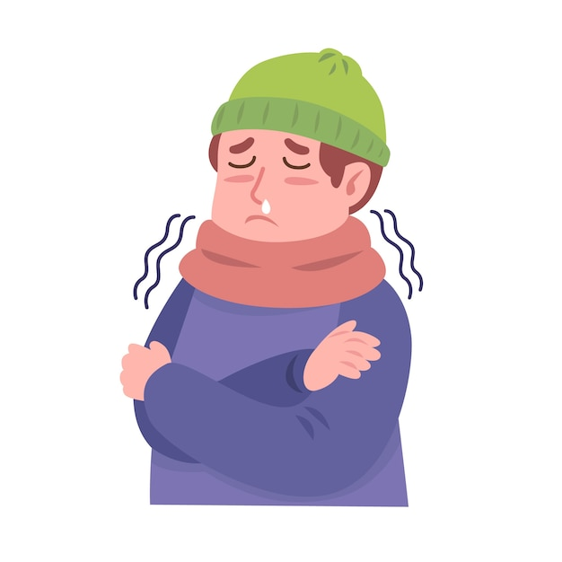 A person being cold Free Vector