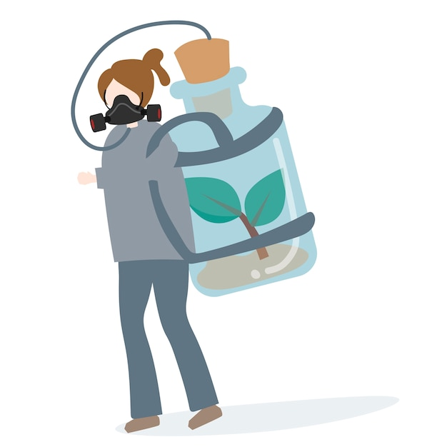 Person carrying tank of fresh air Free Vector