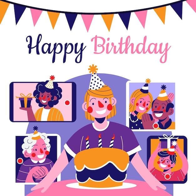 Человек празднует день рождения онлайн Бесплатные векторы
