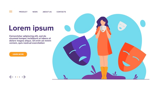 Person covering emotions, searching identity  landing page Free Vector