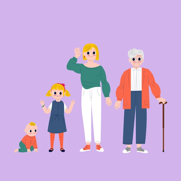 A person in different ages concept Free Vector