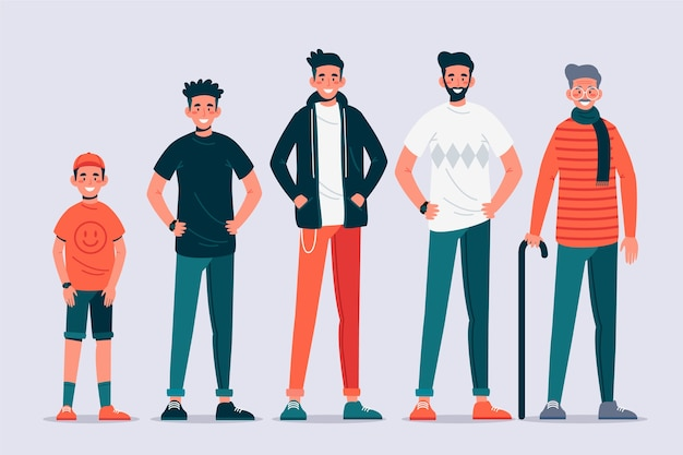 A person in different ages design Free Vector