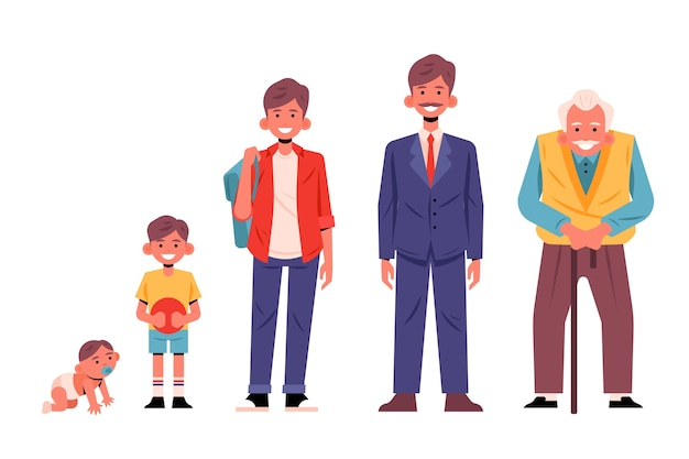 A person in different ages style Free Vector