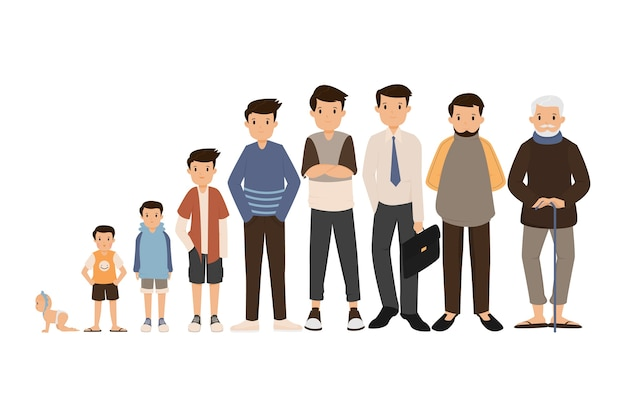 A person in different ages Premium Vector