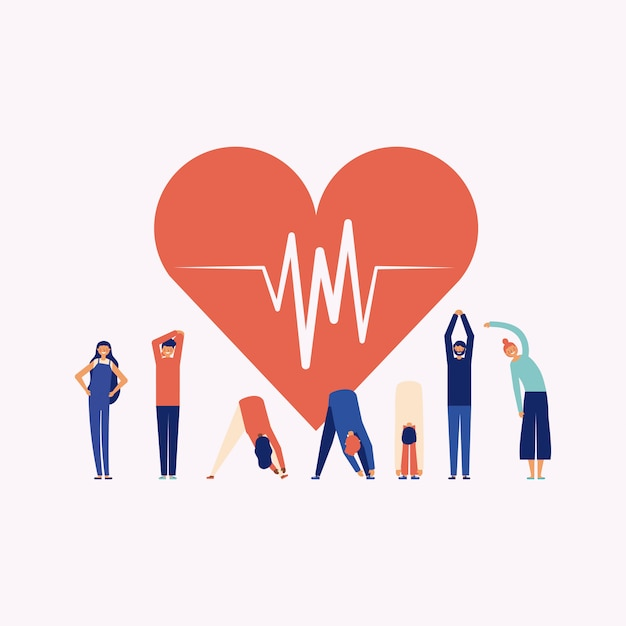 Person doing exercise around a heart, online fitness concept Free Vector