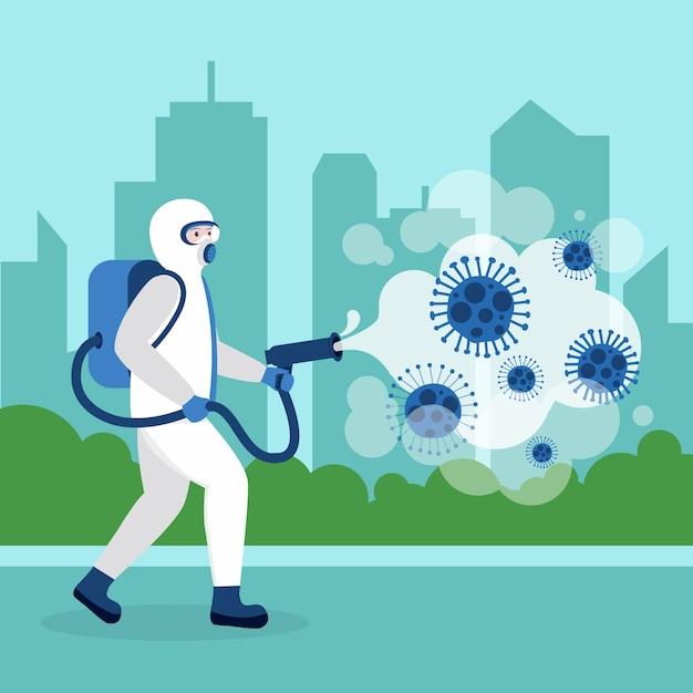 Persona che fa la disinfezione da virus Vettore gratuito